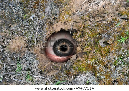 Brown earth dirt with a deep circular black hole in the ground with eyeball peaking outside