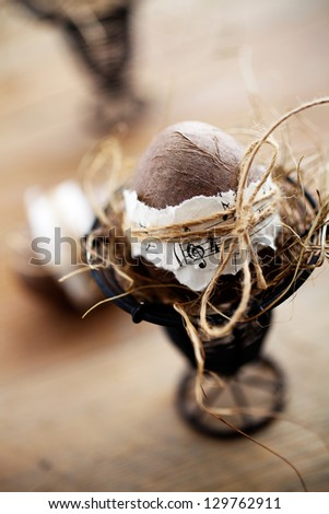 Brown easter eggs with musical notes and ribbon