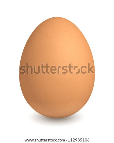 Brown egg - isolated on white background