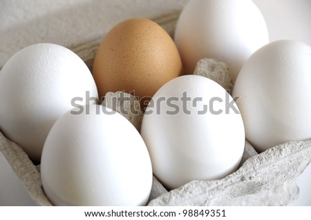 Brown eggs and a white in a carton package