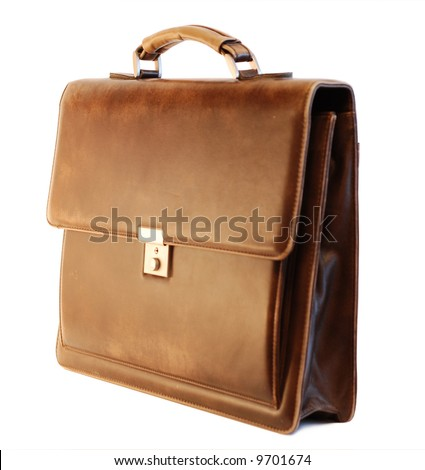 Brown elegant leather briefcase of a businessman