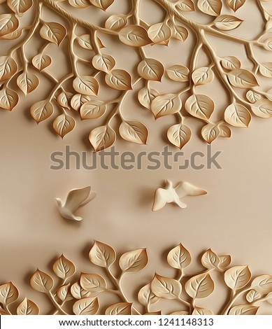 Brown emboss tree leaves and birds on plane background 3D wallpaper