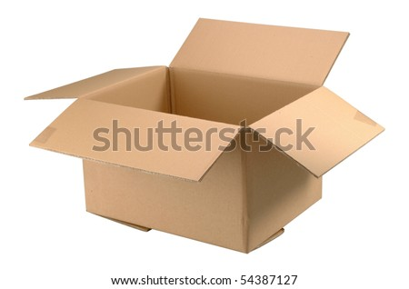 Brown empty cardboard box isolated on white