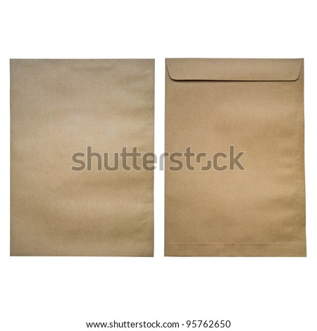 brown envelop front and back on isolated background