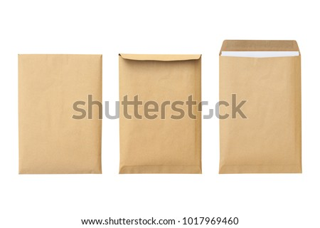 Brown envelope front and back isolated on white background. Letter top view. Object with clipping path #1017969460