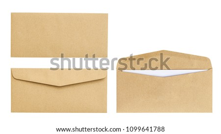 Brown envelope front and back isolated on white background. Letter top view. Object with clipping path #1099641788