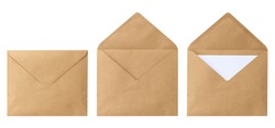 Brown envelope front with card inside isolated on white background. Letter top view. Object with clipping path
