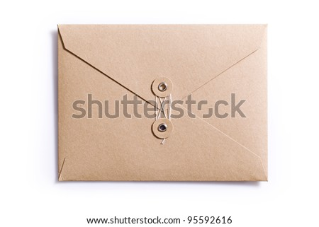 brown envelope isolated on the white background