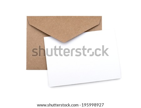 brown envelope with a blank white card over white #195998927