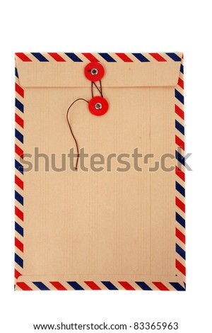brown envelope with a strap isolated on white background