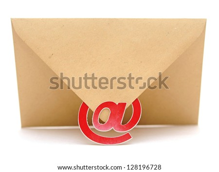 brown envelope with e-mail sign isolated on white background