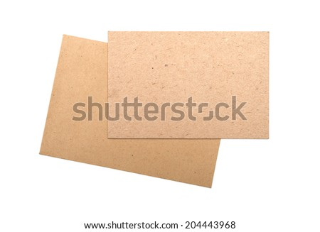 Brown envelopes Cardboard sheet of recycle paper gift cards and invitations isolated on white background. #204443968