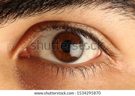brown eye and bloody eye white Stok fotoğraf ©