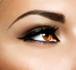 Brown Eye Makeup. Eyes Make-up. Beautiful Eyes Vintage Style Make up detail. Eyeliner