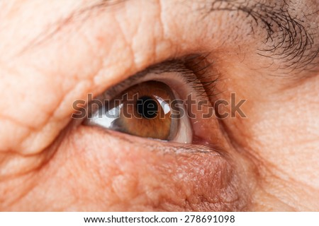 brown eyes close-up. wrinkles on the face of the elderly . look into the distance
