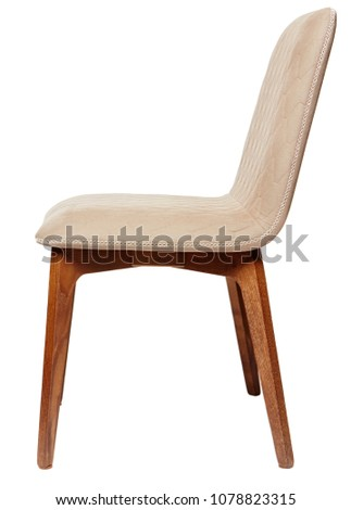 Brown fabric chair isolated on white background with Clipping Path. #1078823315