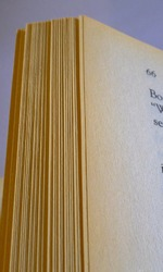 Brown faded edges to book pages known in the book industry as tanning or foxing, which devalues a book and is often associated with aged paper, sometimes associated with ferric oxide.