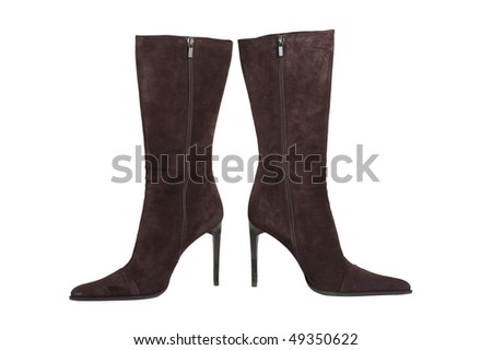 Brown fashion boot isolated on white