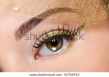Brown female eye with a glamour golden make-up and artificial  leaf at face - stock photo
