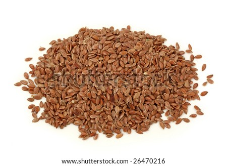 Brown flax seeds isolated on white background