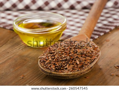 Brown Flax Seeds On A Spoon And Stock Photo 263608814 Avopixcom