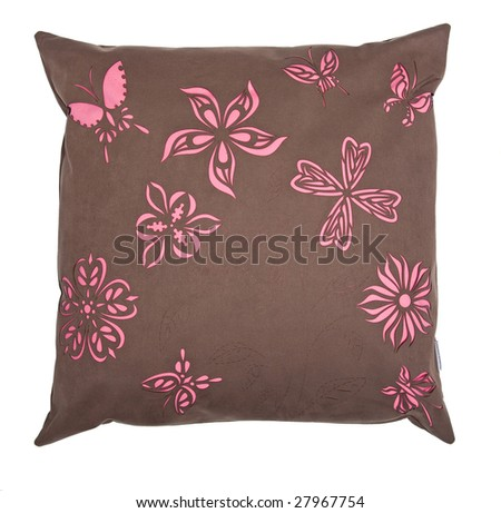 brown flower pillow