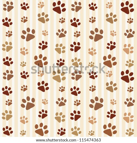 Brown footprints seamless pattern. Raster version