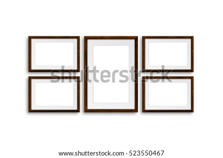Brown frames, made of natural wood material, decor mock up