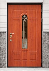 Brown front door - entrance to the building