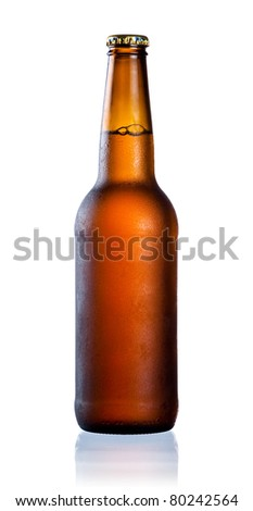 Brown full bottle with water drop and condensate isolated on white background