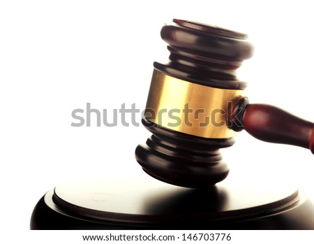 brown gavel with golden ornament on white background