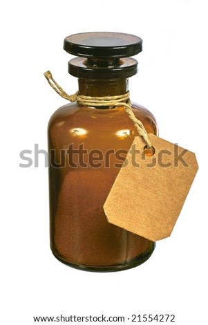 Brown glass bottle with tag isolated on white background