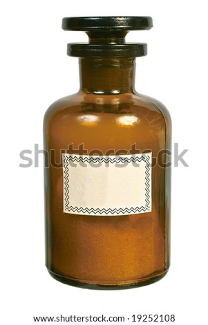 Brown glass bottle with the ground stopper front view isolated on white background