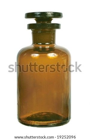 Brown glass chemical bottle with the ground stopper front view isolated on white background