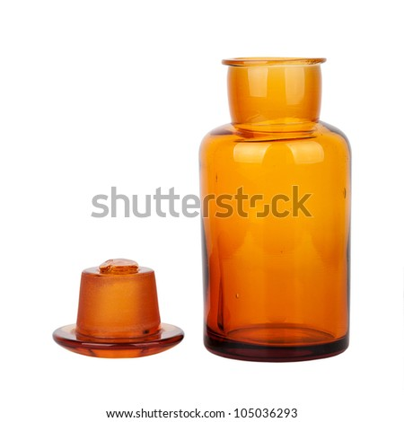 Brown glass chemical bottle with the ground stopper isolated on white background