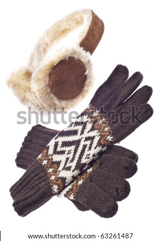 Brown Gloves with Fuzzy Winter Ear-Muffs Isolated on White with a Clipping Path.