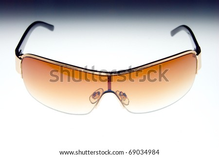brown gradient sun glasses isolated on white background.