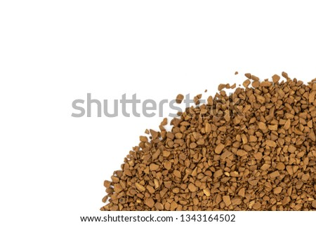 Brown granulated coffee on a white background
