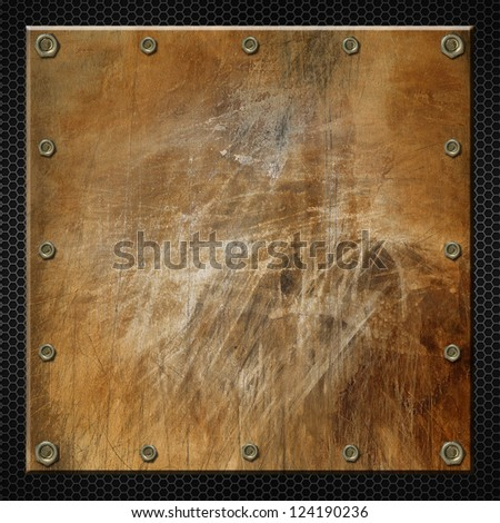 Brown Grunge Metal Background / Brown grunge metal plate with bolts on black backgrounds with hexagons