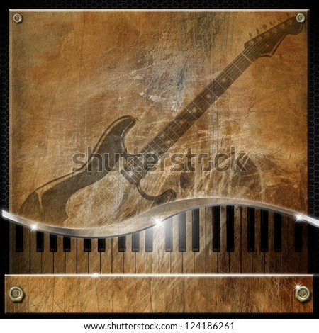 Brown Grunge Music Background / Grunge and brown musical background with piano and electric guitar