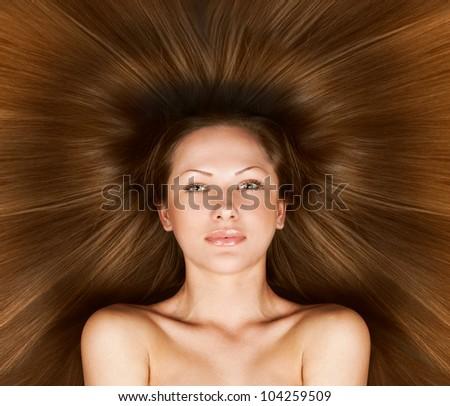 brown hair , beautiful woman with long healthy natural hair