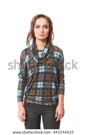 28ec2fadaf9 brown hair business executive woman with straight hair style in woolen casual  checked scottish blouse close