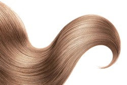Brown hair isolated on white background. Long ponytail