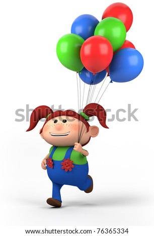 brown-haired girl running with balloons; high quality 3d illustration