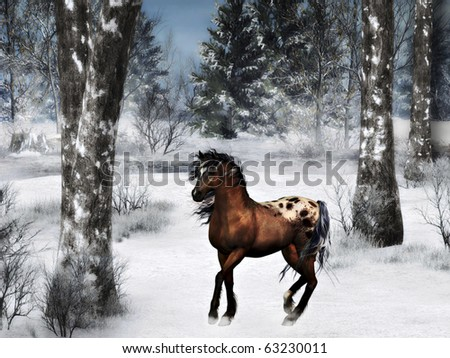 Brown horse on a windy winter day