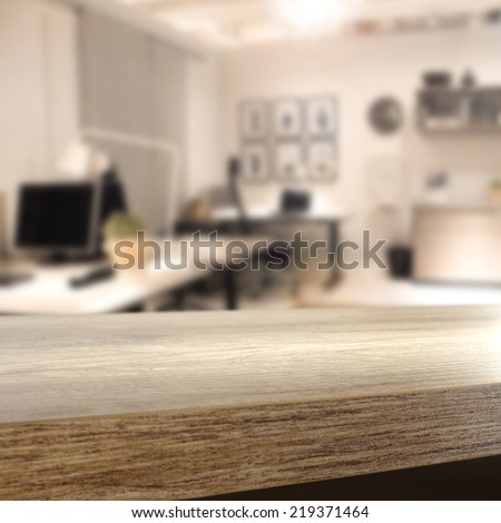 brown interior of office and free space on brown desk place