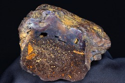 Brown iron ore close up, sample of hematite with limonite (iron ore). Deposit Russia