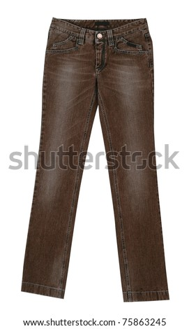brown jeans isolated on white