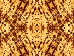 Brown Kaleidoscope Tile. Tie Dye Banner. Ochre Abstract Texture. Acid Abstract Print. French Paper Paint. Gold Graffiti Style. Skin Brushed Texture. Tribal Dirty Watercolor.