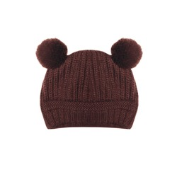 Brown knitted hat with ears bear on a white background